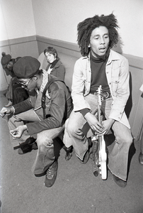 Bob Marley and the Wailers at Paul's Mall: Marley backstage with Joe Higgs, Peter Tosh in the background