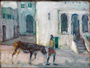Street Scene, Tangier (Man Leading Calf)