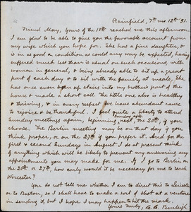 Letter from Charles Calistus Burleigh, Plainfield, [Connecticut], to Samuel May, [18]51 [July] 12
