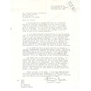 Letter, Richard Brown, February 12, 1981.