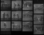 Set of negatives by Clinton Wright including Basketball tournament girls at Doolittle, Bonanza School Pet Show, boxing team at Doolittle, and Welfare Rights march on Strip, 1971