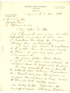 Letter from Philippe Boden to W. E. B. Du Bois