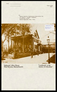 Newton photographs oversize : Allen House : 35 Webster Street / [compiled by the staff of the Newton Free Library]. - Allen House : 35 Webster Street - Nathaniel Allen House West Newton, Massachusetts: Landmark in the History of Education