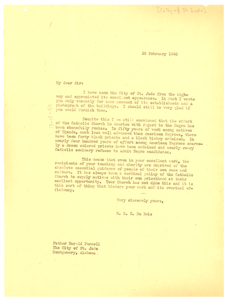 Letter from W. E. B. Du Bois to the City of St. Jude