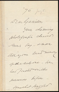 Letter from Wendell Phillips, to William Lloyd Garrison, [January 6, 18]76