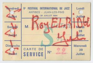 Card from the International Festival de Jazz, Antibes, Juan-les-Pins, July 24-29, 1964