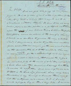 Letter from James C. White, Boston, [Massachusetts], to Amos Augustus Phelps, 1838 April 11
