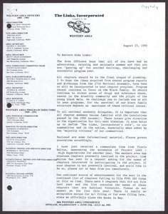Letter from Edwina Gray Higgins to Western Area Links - August 25, 1990 San Antonio Chapter of Links Records Links Regional Papers