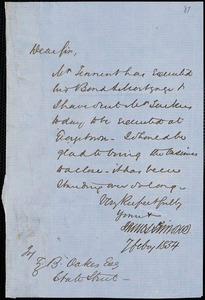 James Simons autograph letter signed to Ziba B. Oakes, 7 February 1854