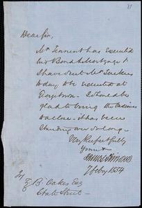 James Simons autograph letter signed to Ziba B. Oakes, 7 February 1854