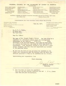 Letter from Harmon Awards to W. E. B. Du Bois