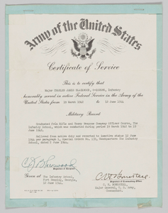 U.S. Army Certificate of Service issued to Lt. Colonel Charles J. Blackwood