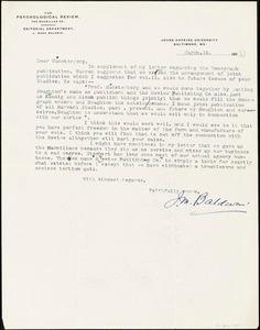 Baldwin, James Mark, 1861-1934 typed letter signed to Hugo Münsterberg, Baltimore, 15 March 1906?