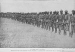 In line for review; Members of the 15th Infantry being reviewed; A sturdy and determined line of fighting men