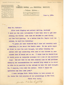 Letter from Booker T. Washington to W. E. B. Du Bois