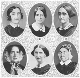 (Top row from left to right): Abby Kimber, Emily Winslow, Mary Grew; (bottom row from left to right): Elizabeth Neall, Abby Southwick, Sarah Pugh