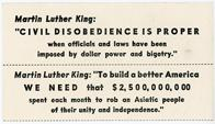 "Night Raiders--Martin Luther King: ""Civil Disobedience Is Proper When Officials And Laws Have Been Imposed By Dollar Power And Bigotry."""