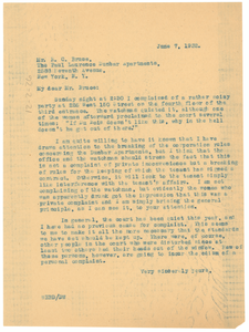 Letter from W. E. B. Du Bois to The Paul Lawrence Dunbar Apartments