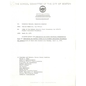 Memo, order of the Federal District Court concerning the 1978 - 1979 student assignment procedures