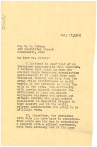 Letter from W. E. B. Du Bois to William P. Dabney