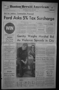"""Boston Herald American Front Page Containing Article, """"Garrity Weighs Marshal Bid As Violence Spreads in City"""""""