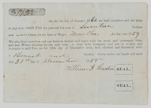 Hiring agreement for an enslaved woman named Martha in South Carolina