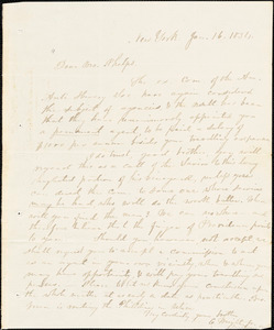 Letter from Elizur Wright, New York, to Amos Augustus Phelps, 1834 Jan[uary] 16