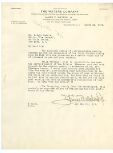 Letter from James C. Waters to W. E. B. Du Bois