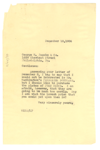 Letter from W. E. B. Du Bois to George W. Jacobs & Company