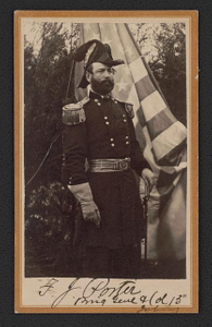 [Major General Fitz-John Porter of 15th Regular Army Infantry Regiment in uniform with saber in front of Union flag]