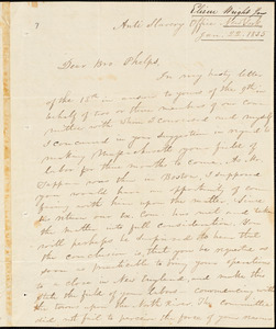 Letter from Elizur Wright, New York, to Amos Augustus Phelps, 1835 Jan[uary] 22