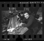 Musician George Duke in control room of recording studio, 1984
