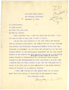 Letter from Clarence A. Guillot to W. E. B. Du Bois