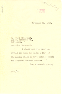 Letter from W. E. B. Du Bois to Carl Singewald