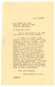 Letter from W. E. B. Du Bois to Julian W. Perry
