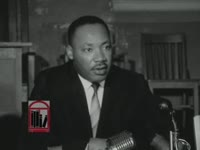 Series of WSB-TV newsfilm clips of Dr. Martin Luther King, Jr. discussing an alleged Republican plot to encourage African Americans to write-in King's name in the presidential election during a press conference held in Atlanta, Georgia on 1964 November 2