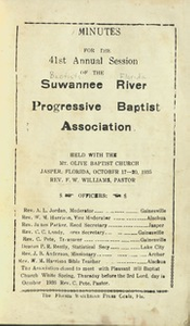 Minutes for the 41st Annual Session of the Suwannee River Progressive Baptist Association.