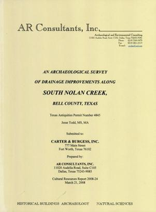 An Archaeological Survey of Drainage Improvements Along South Nolan Creek, Bell County, Texas