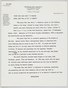 Memo from the House That Jazz Built