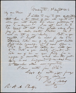 Letter from Hopeful Toler, Washington, [D.C.], to Amos Augustus Phelps, 1846 August 2d