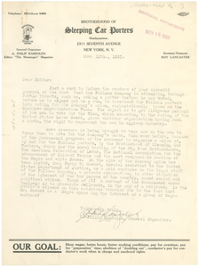 Letter from Brotherhood of Sleeping Car Porters to Editor of The Crisis