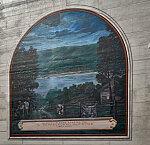 A mural remembering the Underground Railroad, one of 10 panels painted by artist Robert Dalford and his team on panels along the Ohio River floodwall in Maysville, Kentucky