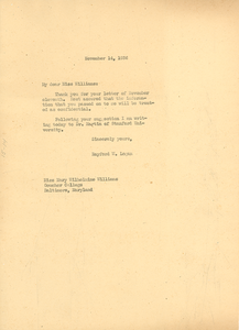 Letter from Rayford W. Logan to Mary W. Williams