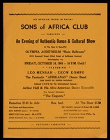 Handbill. Authentic Dance & Cultural Show