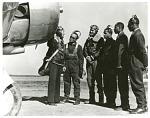 "Education, Schools, Tuskegee Institute (Tuskegee, AL); Long, R. M. (Lt); Roberts, George S. ""Spanky"", Sr; Davis, Benjamin Oliver, Jr. (Captain); DeBow, Charles H.; Ross, Mac; Curtis, Lemuel R.. [photograph]"