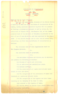Thumbnail for Certificate of incorporation of the Niagara Movement