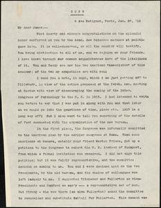 Baldwin, James Mark, 1861-1934 typed letter (copy) to [William James], Paris, 23 January 1910