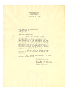 Letter from Whittier College to Clarence M. Cunningham