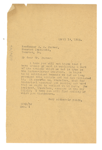 Letter from W. E. B. Du Bois to Thomas W. Turner