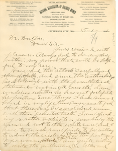 Letter from Josephine Silone Yates to W. E. B. Du Bois
